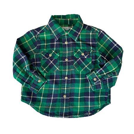 RALPH LAUREN camisa social xadrez flanela verde 9 meses