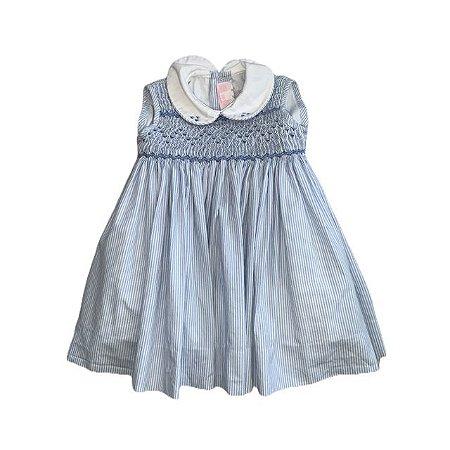 BONITA vestido casinha de abelha listras azuis sem manga 6 meses