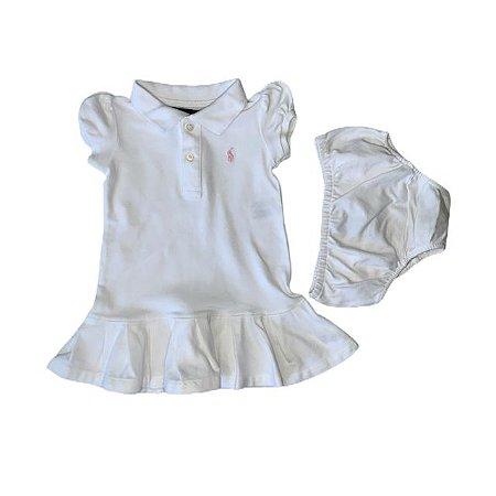 RALPH LAUREN vestido polo c calcinha branco 9 meses