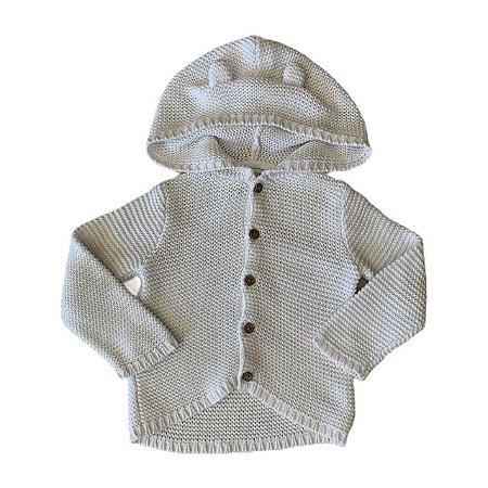 CARTERS casaco com capuz tricô de linha branco 12 meses