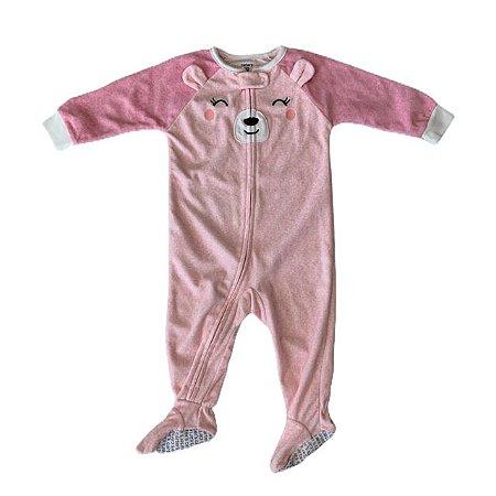 CARTERS macacão pezinho soft rosa cachorrinho 12 meses