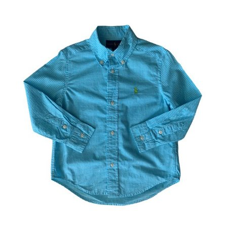 RALPH LAUREN camisa social xadrez azul claro 3 anos