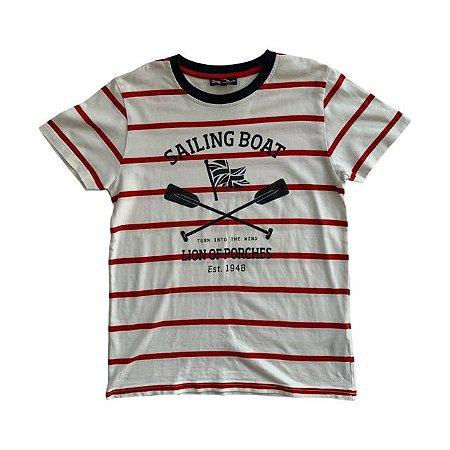 LION OF PORCHES camiseta branca listras vermelhas 9-10 anos