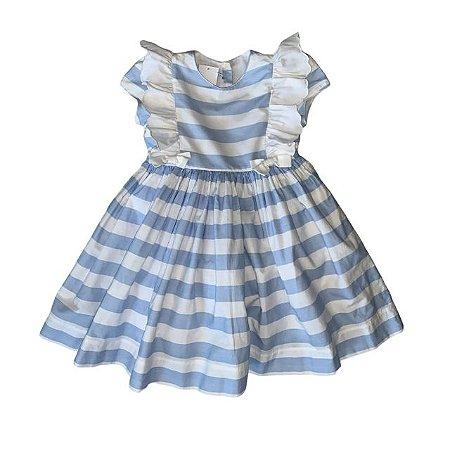 Vestido de algodão com calcinha listras azul e branco 18 -24 meses