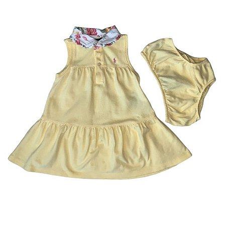 RALPH LAUREN vestido polo c calcinha amarelo gola flores 18 meses