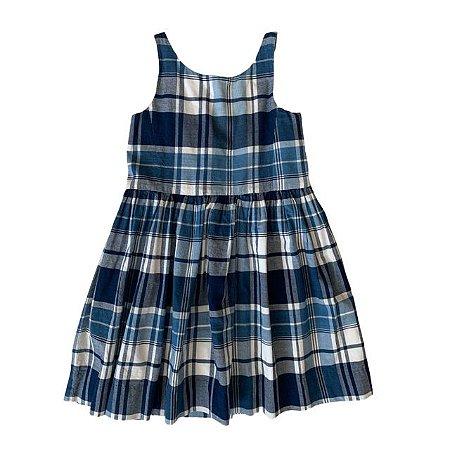 RALPH LAUREN vestido frente única xadrez azul 4 anos