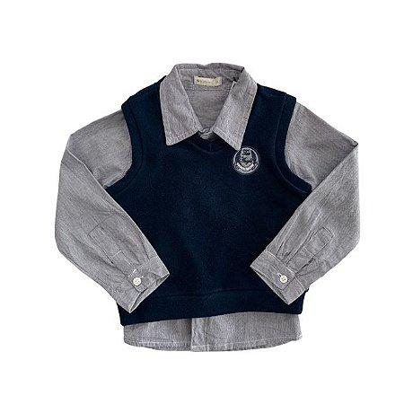 BABIES conjunto camisa social listras azul + colete soft marinho 12 meses