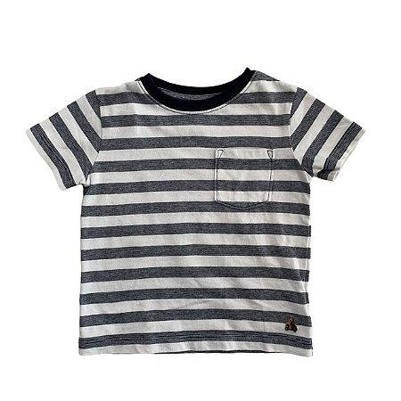 BABY GAP camiseta branca listras marinho 12-18 meses