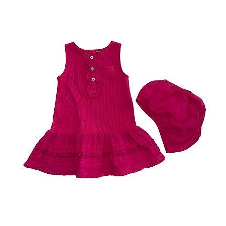 RALPH LAUREN vestido malha canelada pink c calcinha babado saia 6 meses
