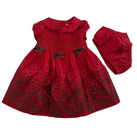 JANIE AND JACK vestido cetim vermelho c calcinha laços veludo marrom 0-3 meses