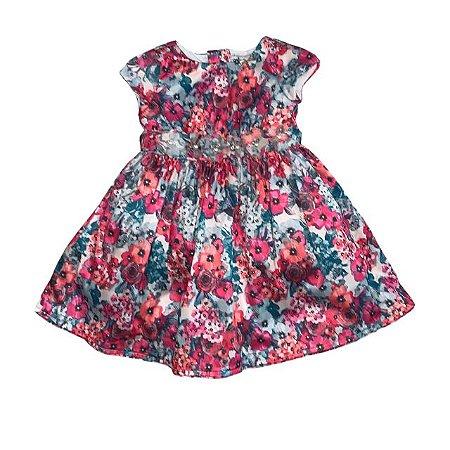 AMIME vestido algodão acetinado florido cinto flores c pérolas 3 anos NOVO