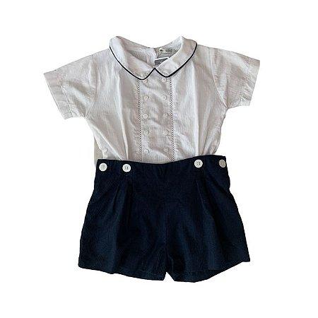 UPIÁ conjunto short marinho e camisa social branca 6-12 meses
