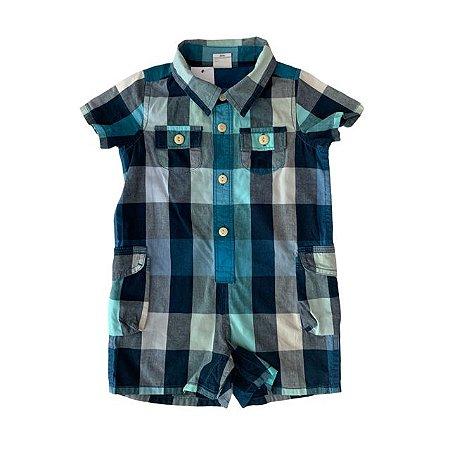 BABY GAP macaquinho social xadrez azul 6-12 meses