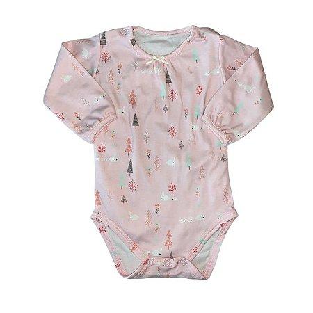 Body rosa manga longa estp coelho 3-6 meses