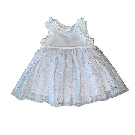 LILI GAUFRETTE vestido algodão branco saia tule c brilho 6 meses