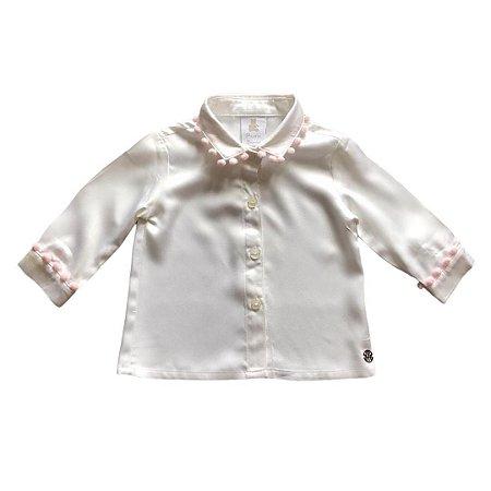 PAOLA BIMBI camisa social feminina offwhite com pompom rosa M 12 meses  NOVA