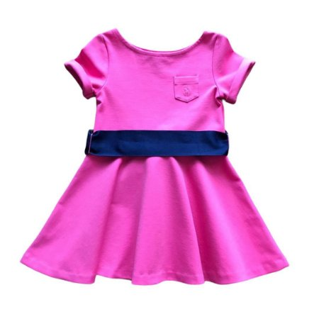 RALPH LAUREN vestido de malha rosa faixa marinho 3 anos