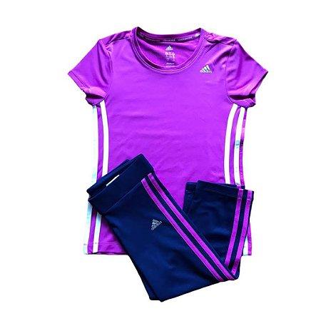 ADIDAS conjunto gym camiseta roxa calça marinho 10 anos ( modelagem pequena)