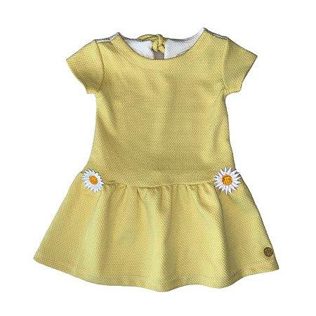 PAOLA BIMBI vestido c calcinha malha piquet amarelo margarida 12-18 meses