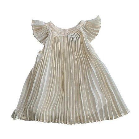 BABY GAP vestido plissado offwhite 6-12 anos