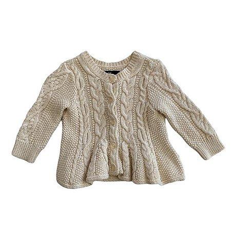 BABY GAP casaco tricô de linha offwhite 3-6 meses