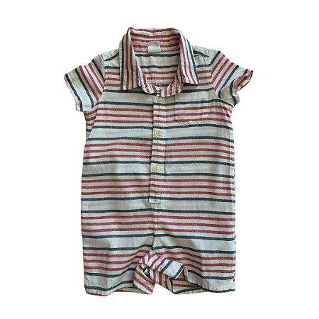 BABY GAP macaquinho camisa social listras azuis e vermelhas 6-12 meses