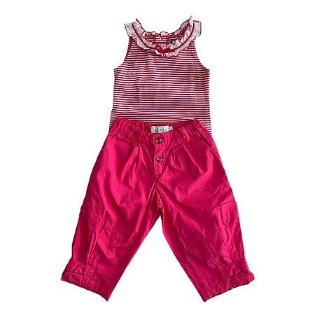 EPK conjunto calça bombear rosa e camiseta listras rosa 5 anos