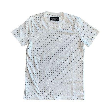 ABERCROMBIE camiseta branca losango azul S 13-4 anos