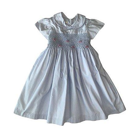 ETHEL vestido casinha de abelha azul 12 meses
