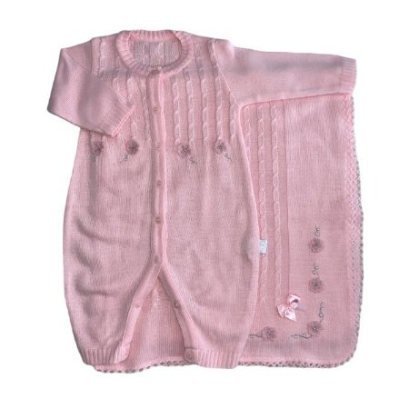 Conjunto Macacão e manta de linha rosa 3 meses