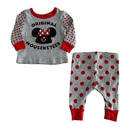 DISNEY pijama Minnie cinza pois vermelho 0-3 meses