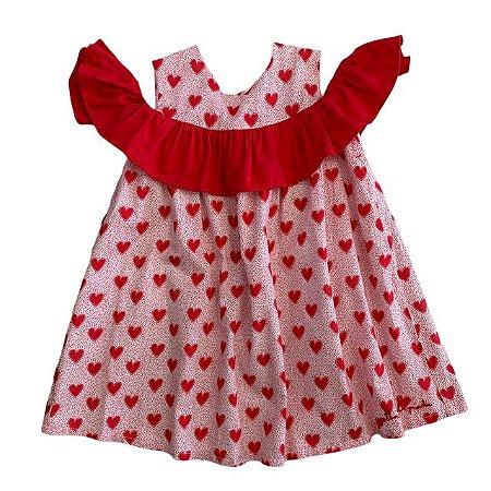 ÁGATHA RUIZ DE LÁ PRADA vestido algodão estp corações vermelhos 2 anos