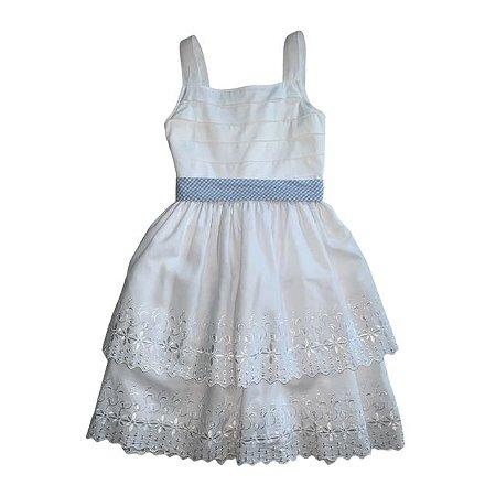 UPIÁ vestido branco gorgorão e bordado inglês cinto faixa xadrez azul 6 anos
