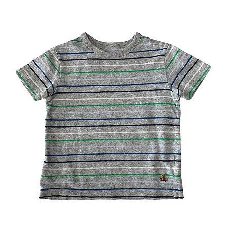 BABY GAP camiseta cinza listras coloridas 2 anos