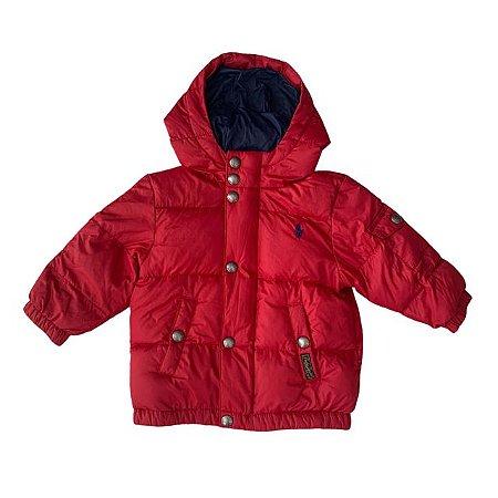 RALPH LAUREN casaco acolchoado de nylon c capuz vermelho 12 meses 108,00