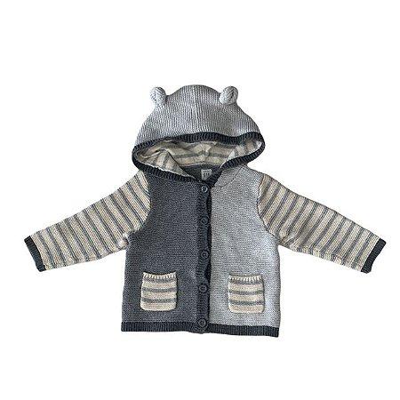 BABY GAP casaco tricô de linha tons cinza com capuz orelhas 24 meses