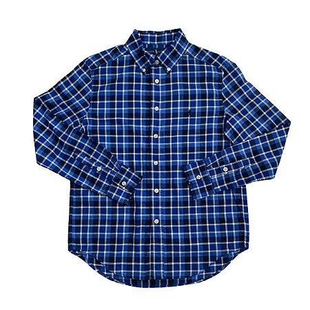 RALPH LAUREN camisa social xadrez azul 10-12 anos