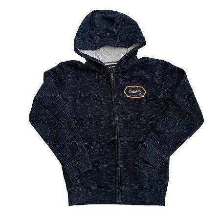 QUIKSILVER casaco moletom capuz preto mescla 12 anos (modelagem pequena)