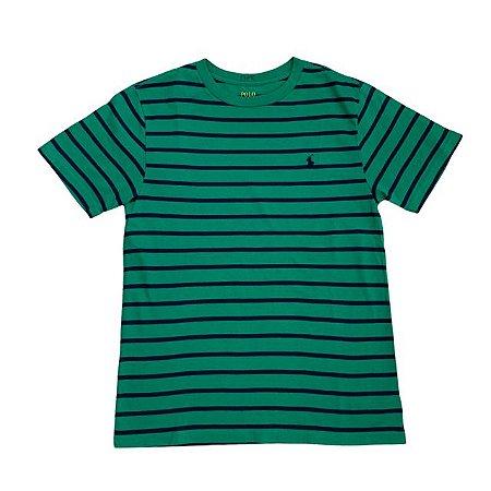 RALPH LAUREN camiseta verde listras marinho 10-12 anos