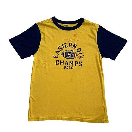 RALPH LAUREN camiseta amarela gola marinho 10-12 anos