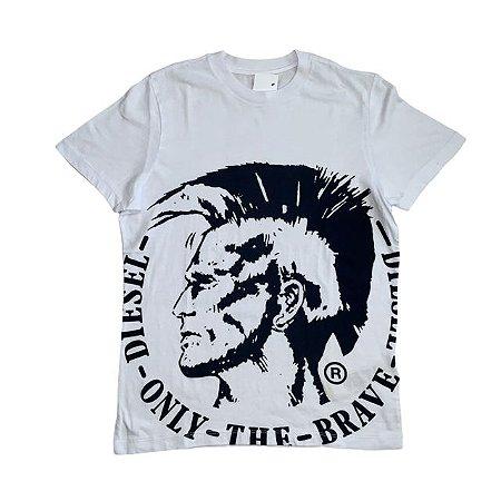DIESEL camiseta branca desenho rosto 12 anos