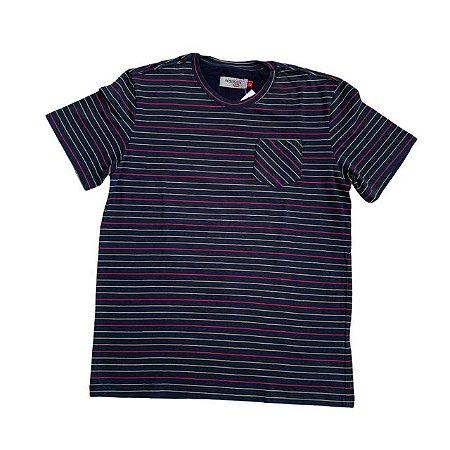 RESERVA MINI camiseta c bolso marinho listras coloridas 12 anos