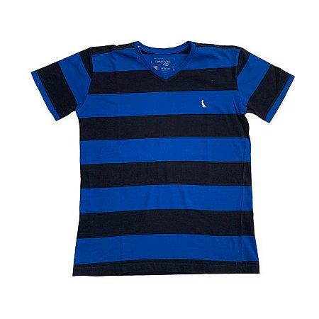 RESERVA MINI camiseta gola V preta listras azul 12 anos