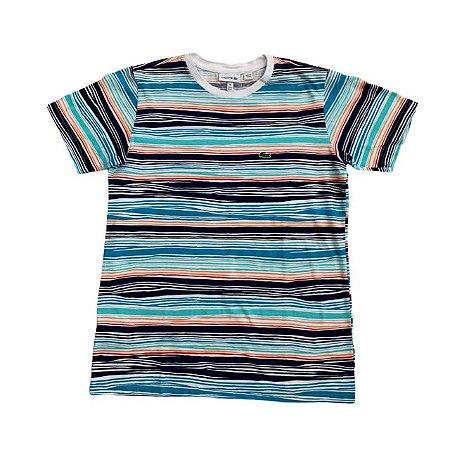 LACOSTE camiseta listras coloridas 14 anos