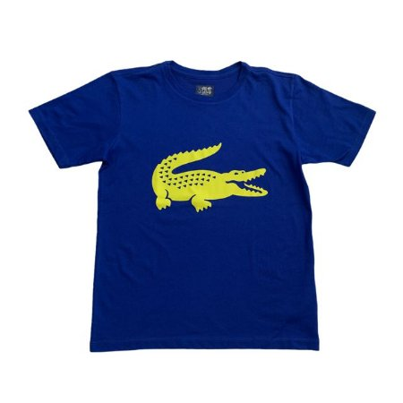 LACOSTE camiseta azul royal jacaré amarelo 14 anos