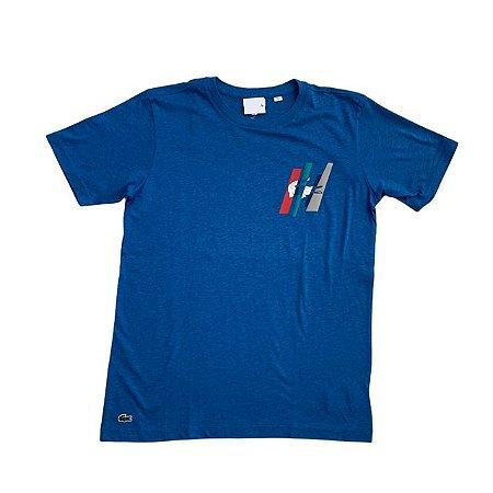 LACOSTE camiseta lisa azul mescla 14 anos