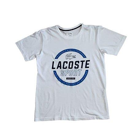 "LACOSTE camiseta branca ""frienship"" 14 anos"