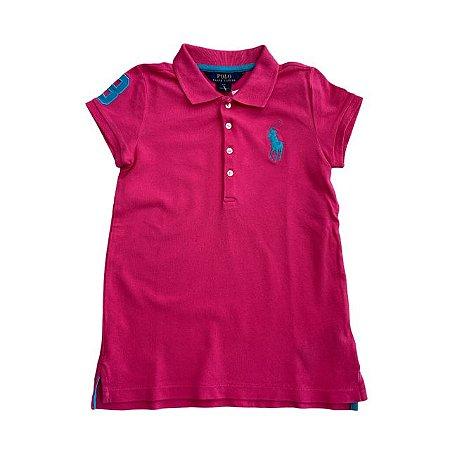 RALPH LAUREN camisa polo rosa pInk 6 anos