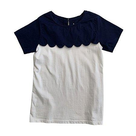 JACADI camiseta branca gola marinho pétalas 8 anos