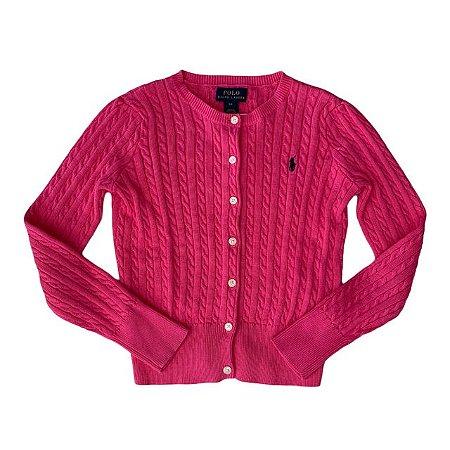 RALPH LAUREN casaco de linha rosa pink 6 anos